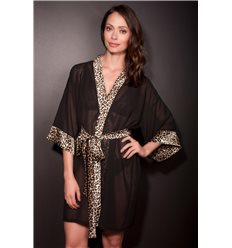 Lingerie Letters Black and leopard Gowns - chiffon and satin